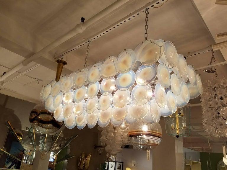 Late 20th Century Large Rectangular White Vistosi Murano Glass Disc Chandelier For Sale