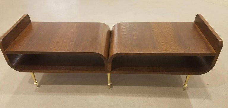 Limited Edition Italian Two-Tier Brown Wood Bench With Brass Legs In Excellent Condition For Sale In New York, NY