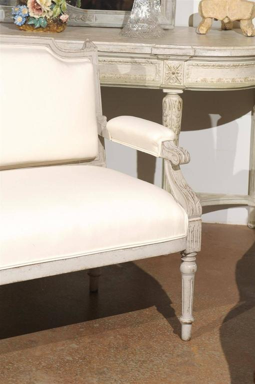 Swedish 1880s Neoclassical Style Painted Sofa with Carved Rail and Scrolled Arms For Sale 1