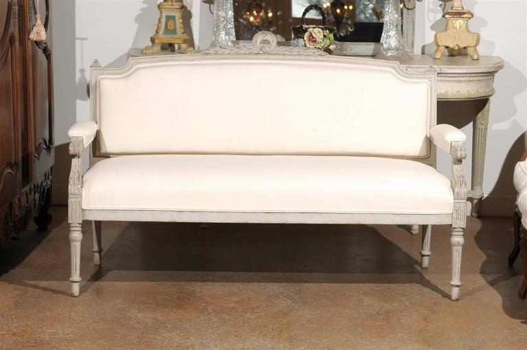 Wood Swedish 1880s Neoclassical Style Painted Sofa with Carved Rail and Scrolled Arms For Sale