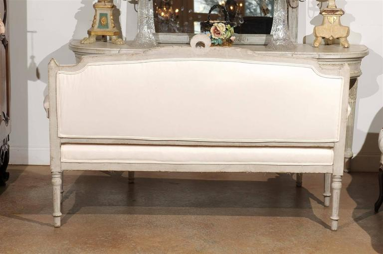 Swedish 1880s Neoclassical Style Painted Sofa with Carved Rail and Scrolled Arms For Sale 2