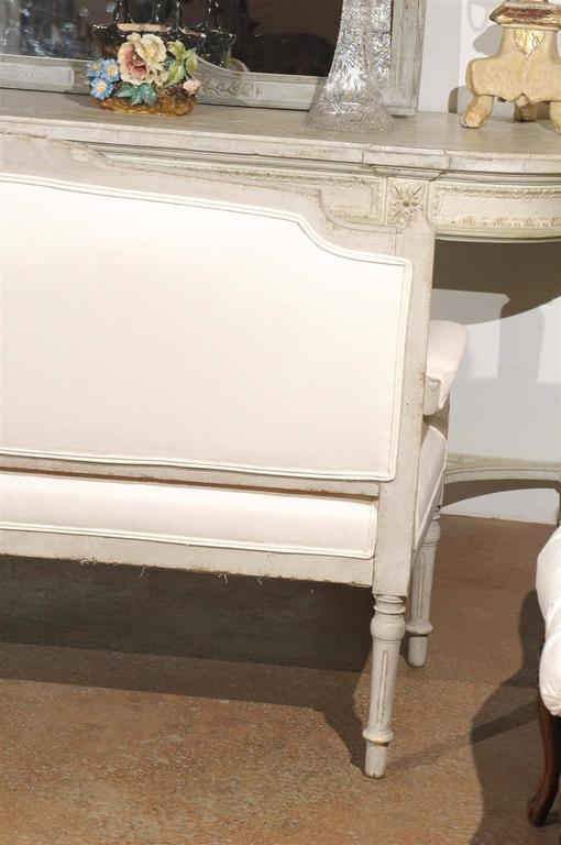 Swedish 1880s Neoclassical Style Painted Sofa with Carved Rail and Scrolled Arms For Sale 4