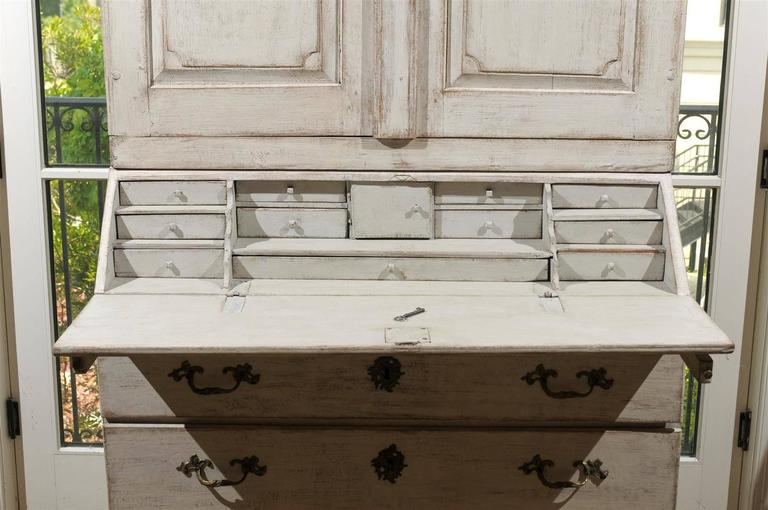 Baroque Style 1840s Swedish Tall Secretary With Slant Front Desk And  Drawers For Sale 4