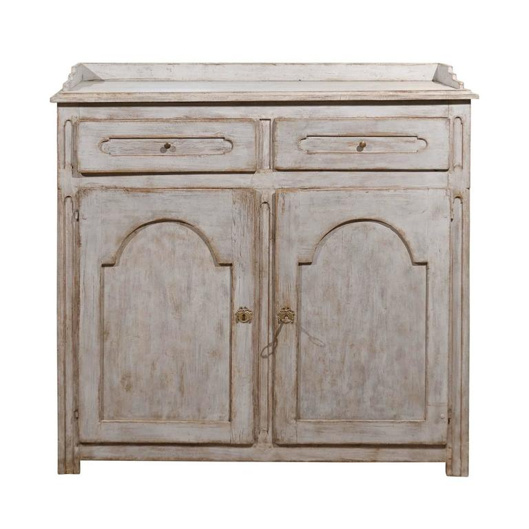Mid 19th Century Painted Wood Swedish Buffet with Gallery, Drawers and Doors