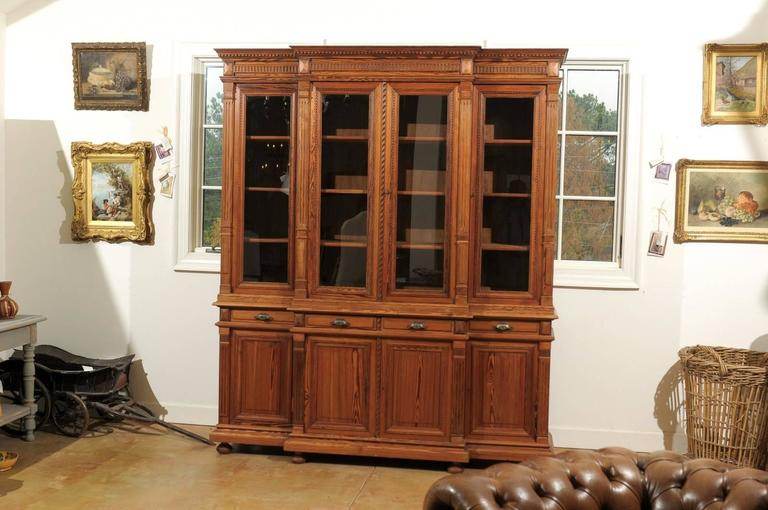 Neoclassical French Pitch Pine Glass Doors Breakfront Bookcase from the Turn of the Century For Sale