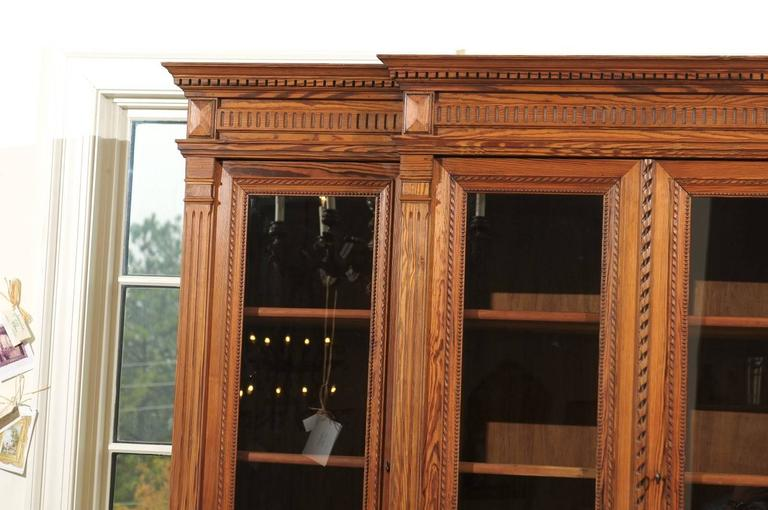 French Pitch Pine Glass Doors Breakfront Bookcase from the Turn of the Century For Sale 2