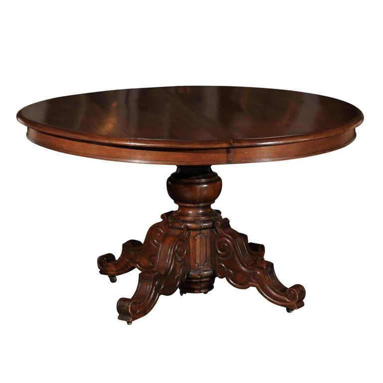 French Napoléon III Walnut Pedestal Table with Carved Feet from the 1850s