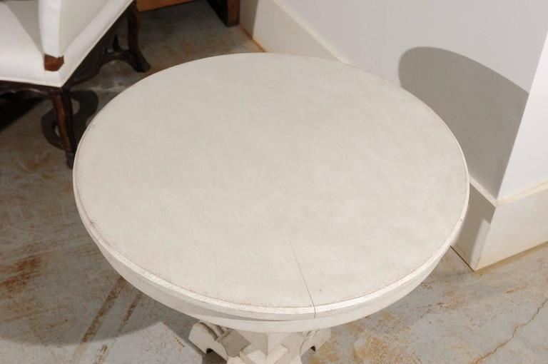 Swedish Cream Painted Wood Guéridon Table with Pedestal Base, circa 1890 For Sale 2