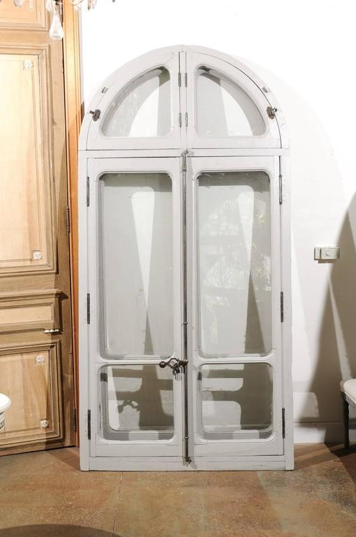 French Arched Window From An Orangerie With Original Soft
