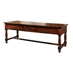 Late 18th Century French Walnut and Acacia Wood Sofa Table with Turned Legs