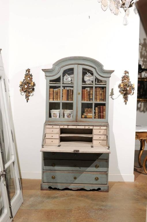 Swedish 1890s Rococo Style Painted Wood Tall Secretary with Glass Doors Cabinet In Good Condition For Sale In Atlanta, GA
