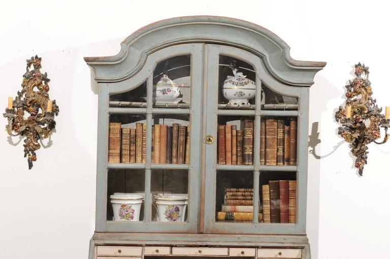 19th Century Swedish 1890s Rococo Style Painted Wood Tall Secretary with Glass Doors Cabinet For Sale