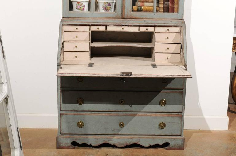 Brass Swedish 1890s Rococo Style Painted Wood Tall Secretary with Glass Doors Cabinet For Sale