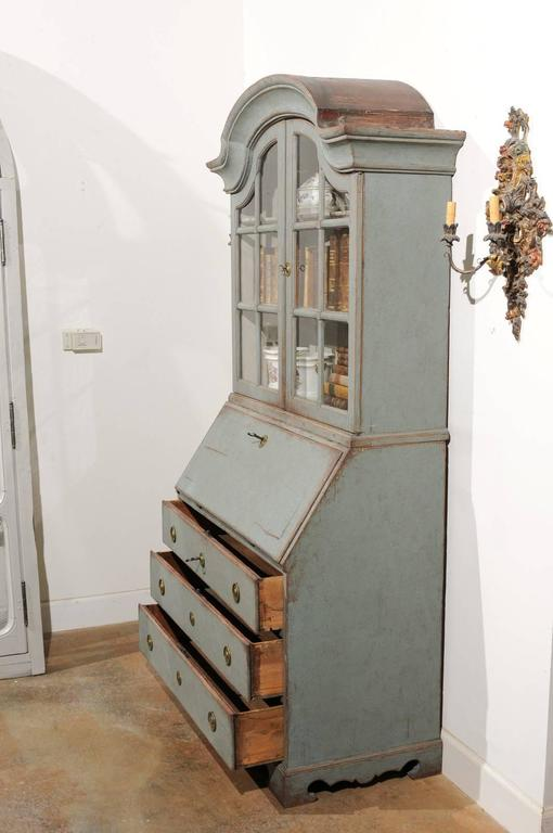 Swedish 1890s Rococo Style Painted Wood Tall Secretary with Glass Doors Cabinet For Sale 1