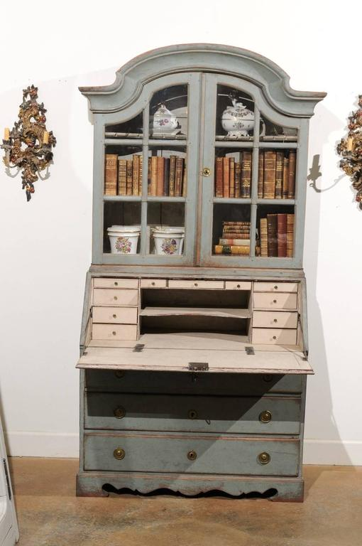 Swedish 1890s Rococo Style Painted Wood Tall Secretary With Glass Doors  Cabinet For Sale 2