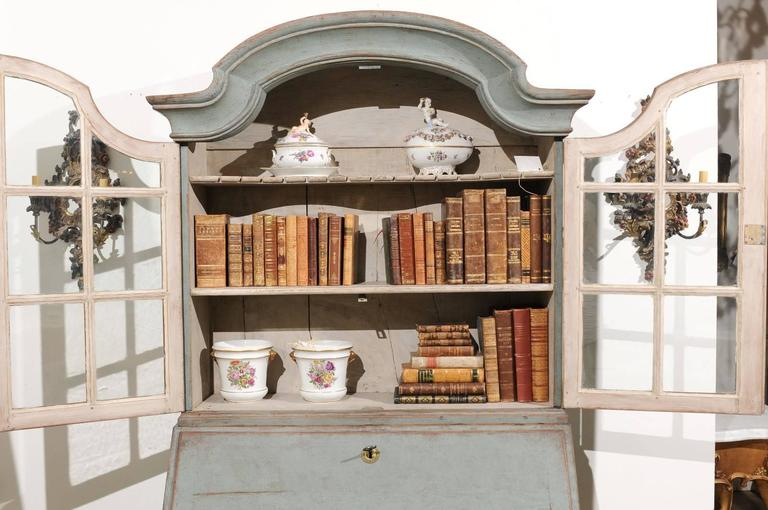 Swedish 1890s Rococo Style Painted Wood Tall Secretary with Glass Doors Cabinet For Sale 3