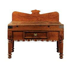 French 1820s Butcher Block Table with Single Drawer, Knife Slot and Carved Apron