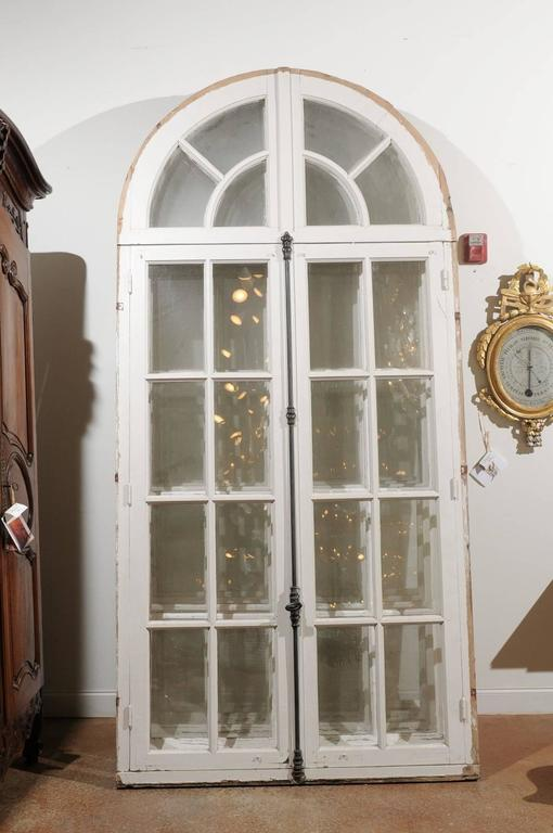 French 1850s Painted Door Window With Arched Top From