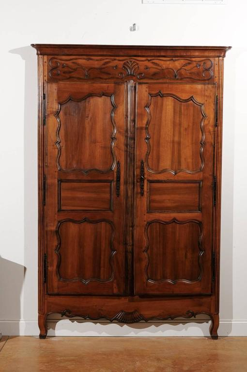 French Walnut Louis XV Style Armoire Façade With Carved