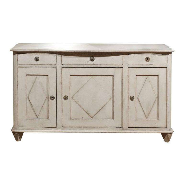 Swedish Light Grey Gustavian Style 1850s Enfilade with Doors and Drawers