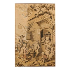 Lively French 19th Century Vertical Format Tapestry Depicting a Village Fête