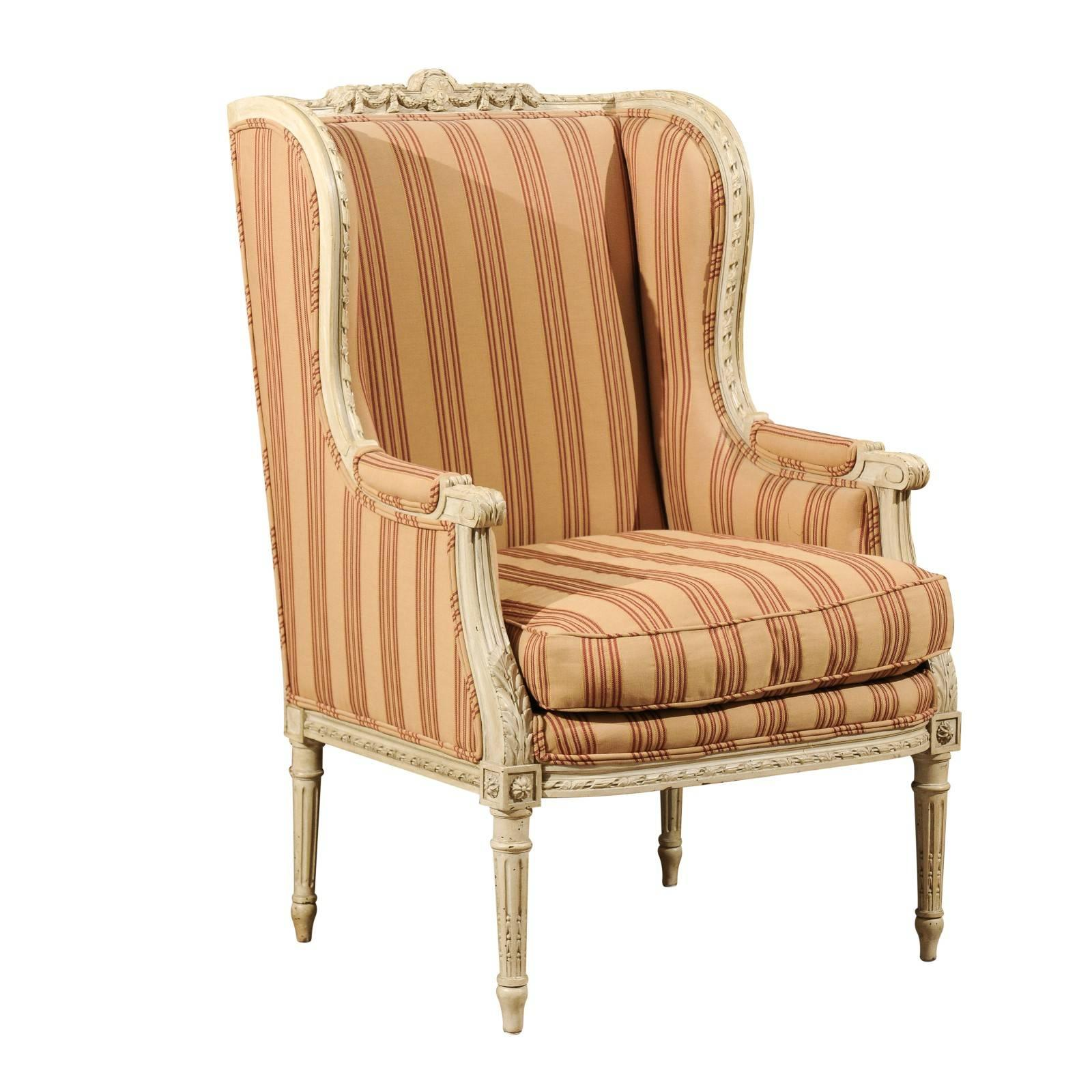 french louis xvi style painted wood upholstered wingback chair circa