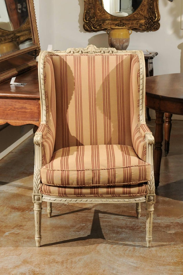 French louis xvi style painted wood upholstered wingback for Styles of upholstered chairs