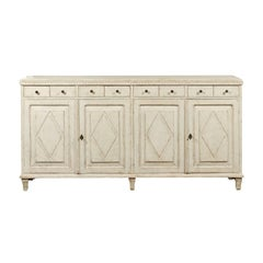 Swedish Gustavian Style Painted 1890s Enfilade with Eight Drawers and Four Doors