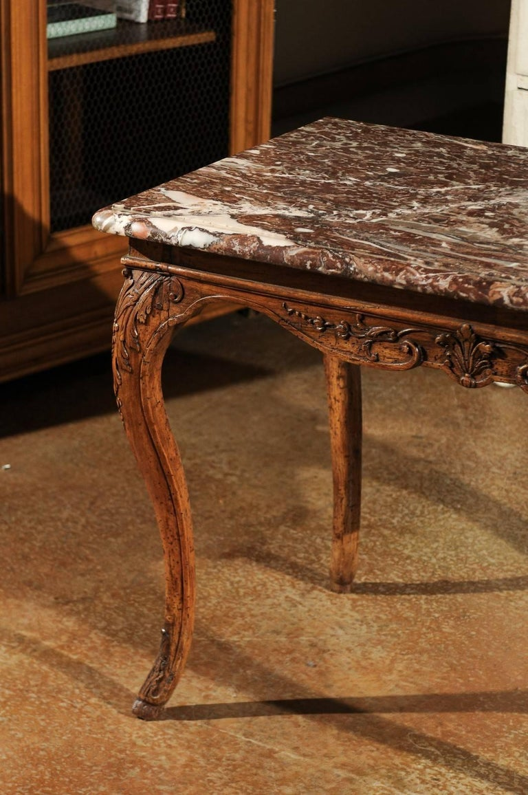 Red Marble Top : French louis xv period th century carved wood side table