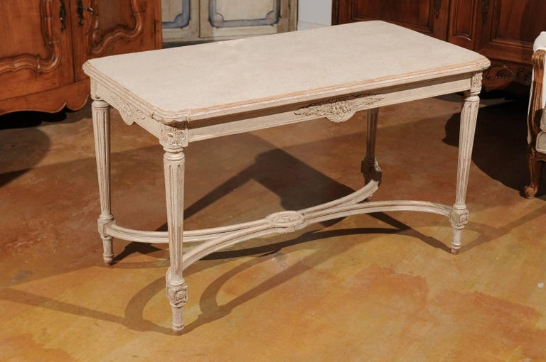 Swedish Gustavian Style Painted Wood Coffee Table with Fluted Legs, circa 1920 For Sale 6