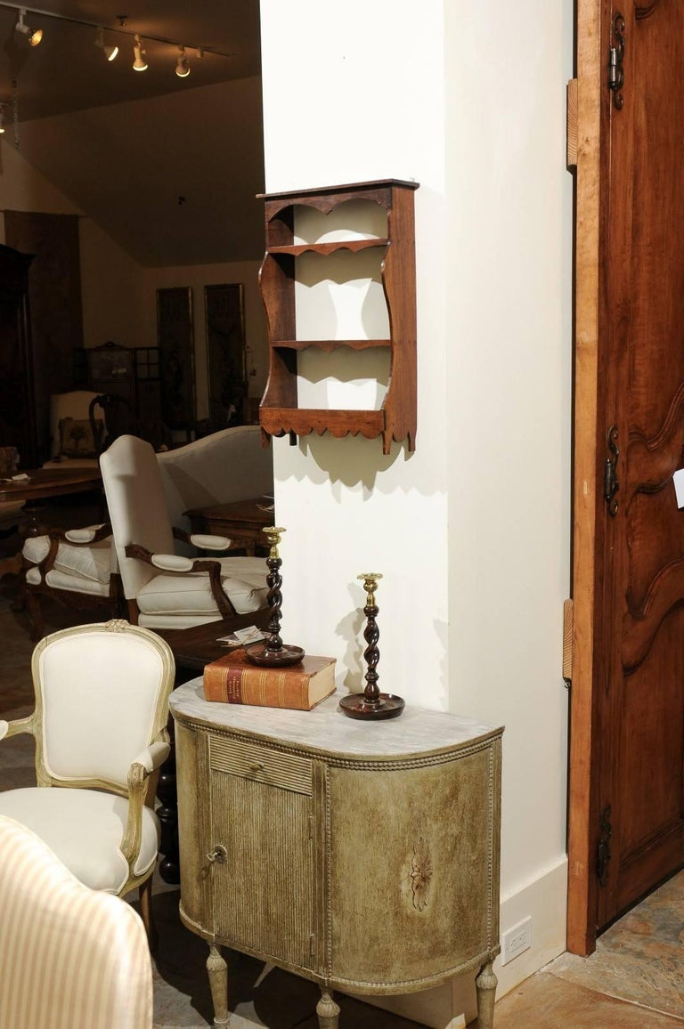 Petite 19th Century French Walnut Three-Tiered Wall Shelf with Nice Carving In Good Condition For Sale In Atlanta, GA