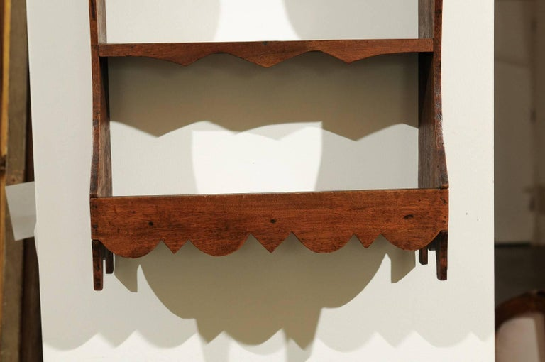 Petite 19th Century French Walnut Three-Tiered Wall Shelf with Nice Carving For Sale 1