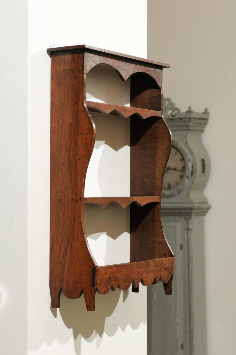 Petite 19th Century French Walnut Three-Tiered Wall Shelf with Nice Carving For Sale 2