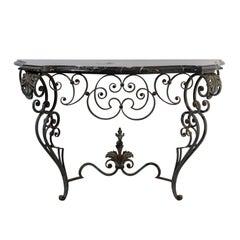 French 1920s Wrought-Iron Console Table with Curvy Base and Black Marble Top