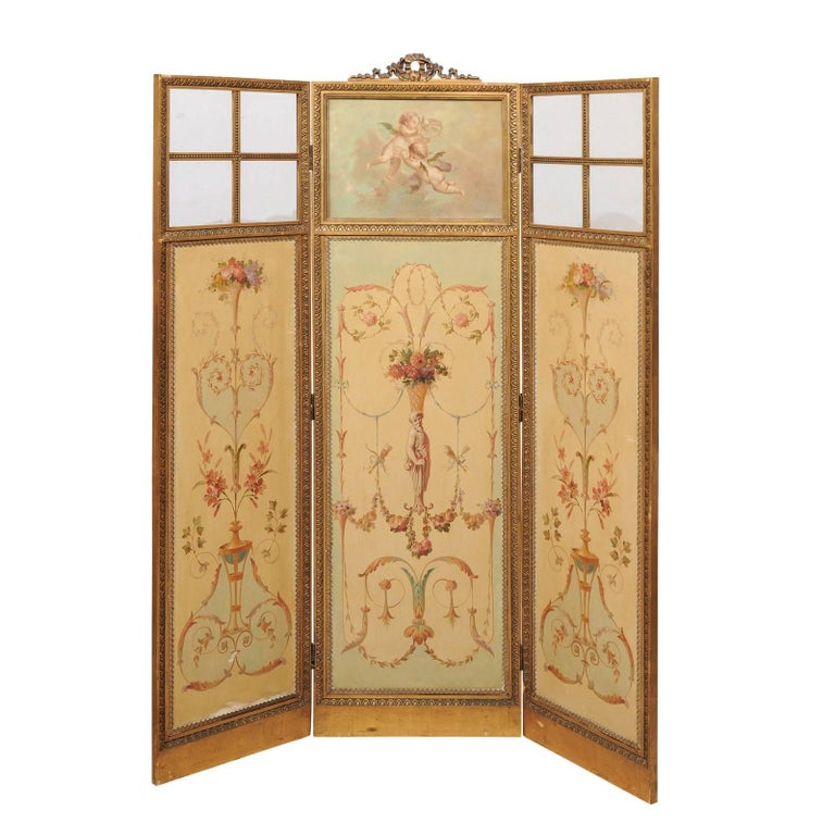 French Renaissance Revival Folding Three-Panel Screen with Hand-Painted Motifs