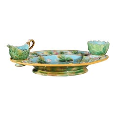 English Majolica Strawberry Dish Set by George Jones and Sons, circa 1875