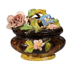 French 19th Century Barbotine Covered Bowl with Floral Décor and Bird's Nest