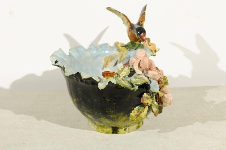 19th Century French Barbotine Covered Bowl with Bird and Bird Nest Décor For Sale 6