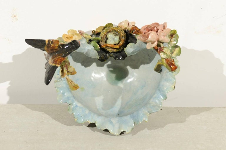 Ceramic 19th Century French Barbotine Covered Bowl with Bird and Bird Nest Décor For Sale
