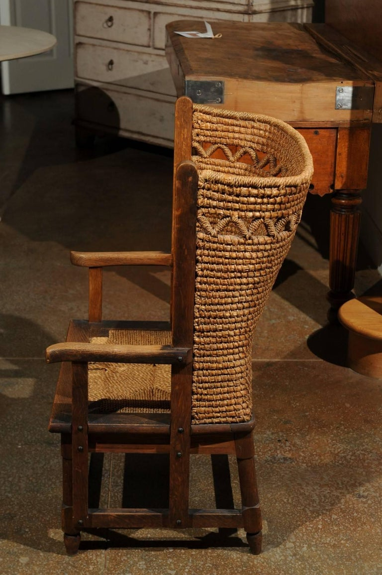19th Century Scottish Orkney Chair With Handwoven Straw