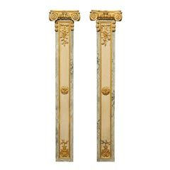 Pair of 18th Century French Louis XVI Decorative Pilasters with Ionic Capitals