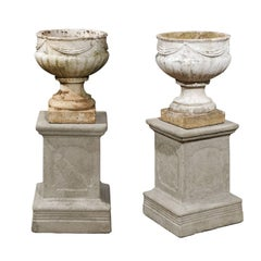 Pair of English Neoclassical Style Reconstituted Stone Jardinières on Plinths