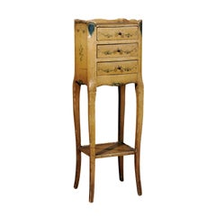 Italian 19th Century Nightstand Table with Painted Decor, Drawers and Low Shelf