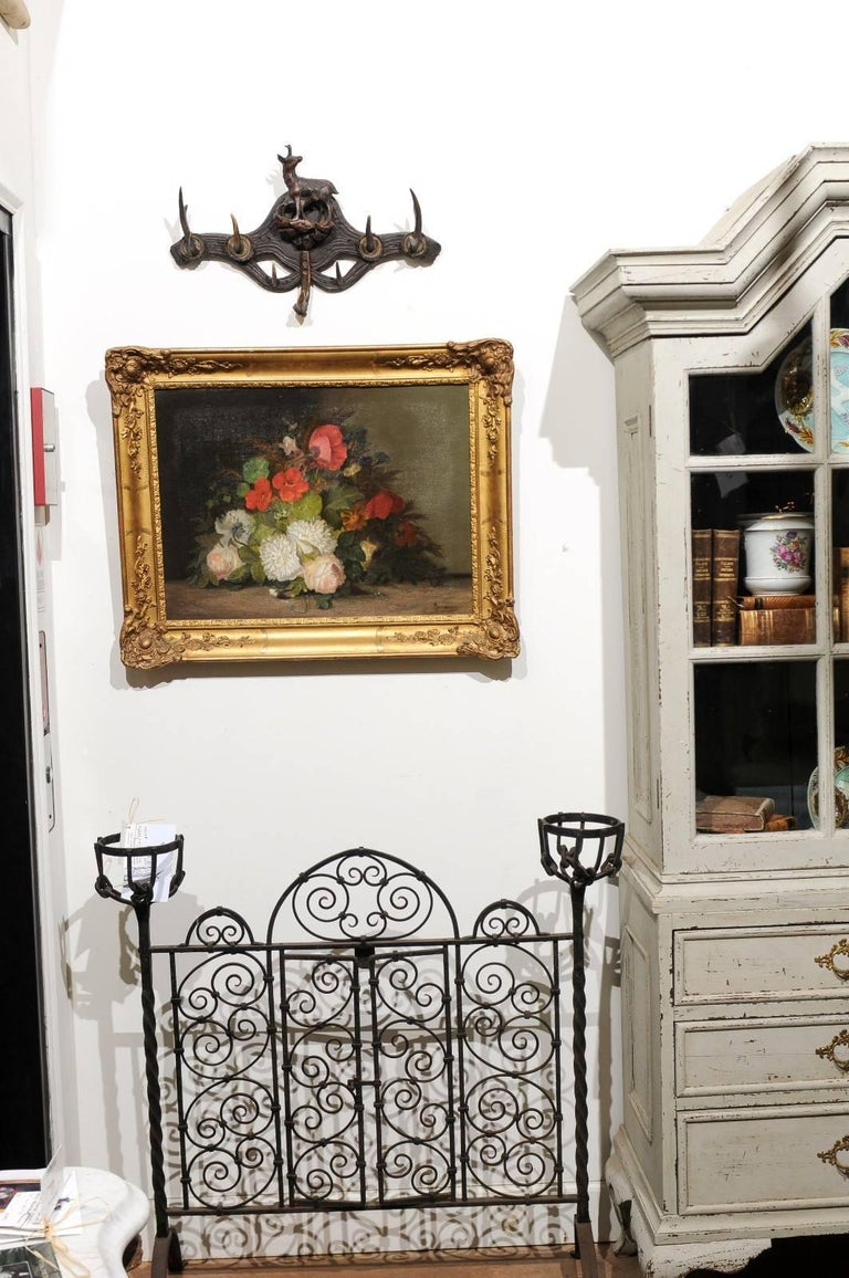 19th Century French Floral Painting Signed Philippe Rousseau in Giltwood Frame In Good Condition For Sale In Atlanta, GA