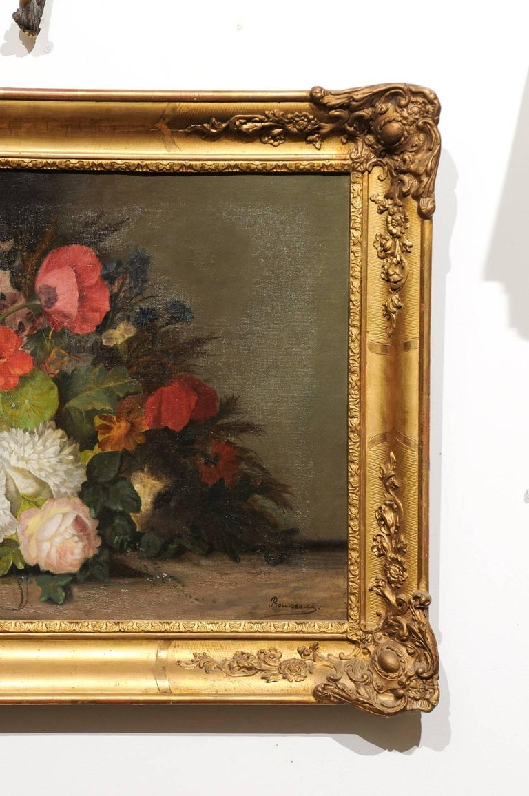 19th Century French Floral Painting Signed Philippe Rousseau in Giltwood Frame For Sale 1