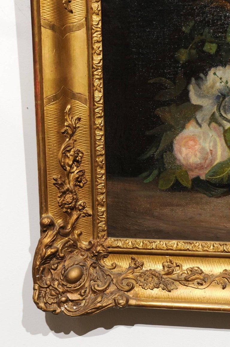 19th Century French Floral Painting Signed Philippe Rousseau in Giltwood Frame For Sale 6