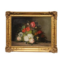 19th Century French Floral Painting Signed Philippe Rousseau in Giltwood Frame