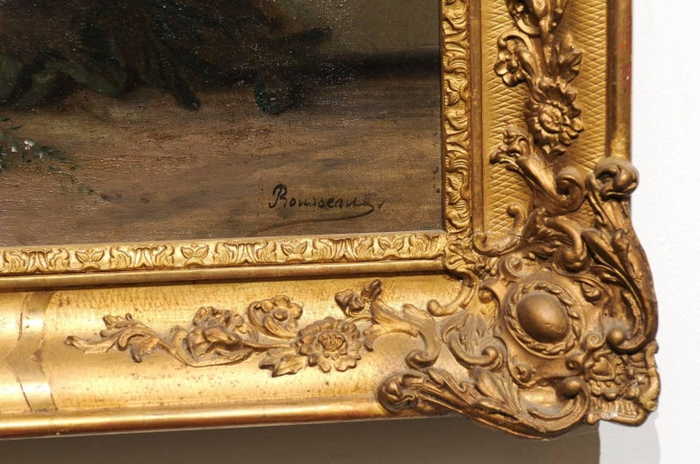 19th Century French Floral Painting Signed Philippe Rousseau in Giltwood Frame For Sale 3