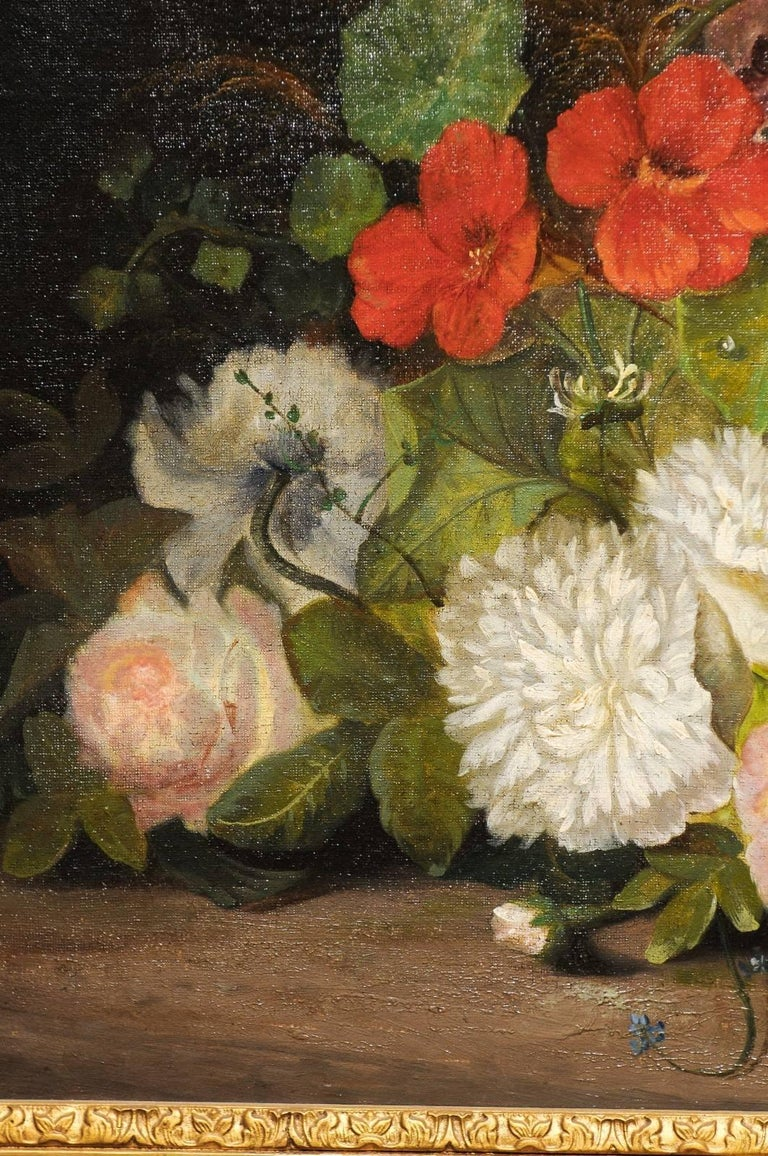 19th Century French Floral Painting Signed Philippe Rousseau in Giltwood Frame For Sale 5