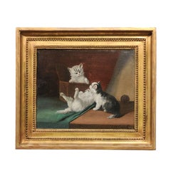 1890s Oil on Canvas Painting of Kittens Playing Signed by French Artist Laroche